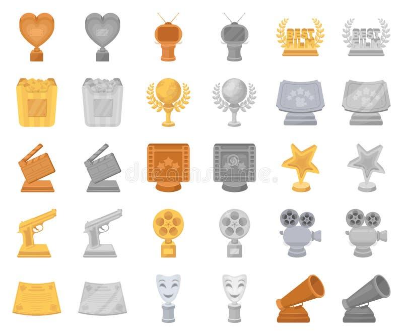 Van filmtoekenning en prijzen beeldverhaal, monochrom pictogrammen in vastgestelde inzameling voor ontwerp De voorraad van het de stock illustratie