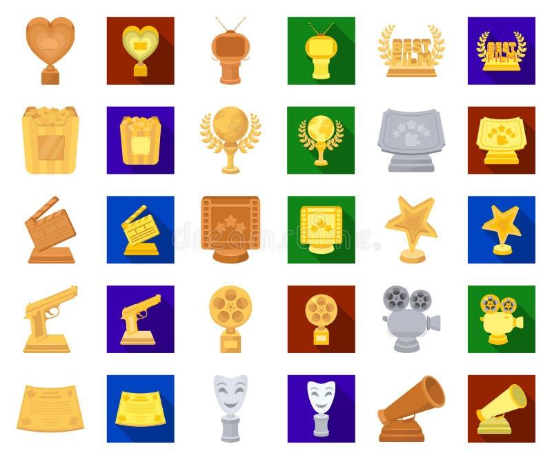 Van filmtoekenning en prijzen beeldverhaal, vlakke pictogrammen in vastgestelde inzameling voor ontwerp Het van het de Academie v stock illustratie