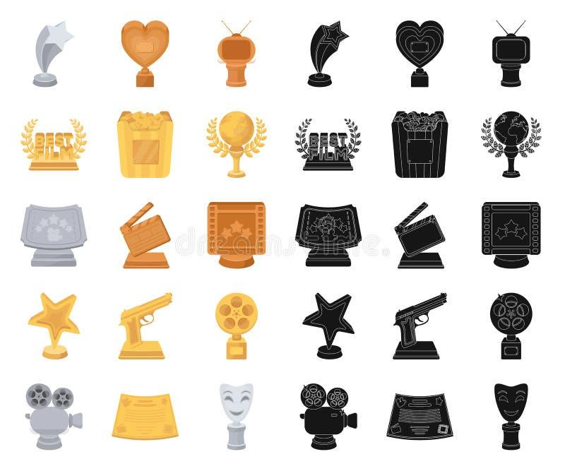 Van filmtoekenning en prijzen beeldverhaal, zwarte pictogrammen in vastgestelde inzameling voor ontwerp Het van het de Academie v stock illustratie