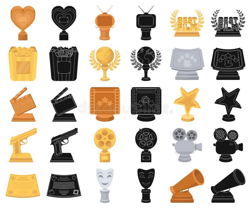 Van filmtoekenning en prijzen beeldverhaal, zwarte pictogrammen in vastgestelde inzameling voor ontwerp Het van het de Academie v vector illustratie