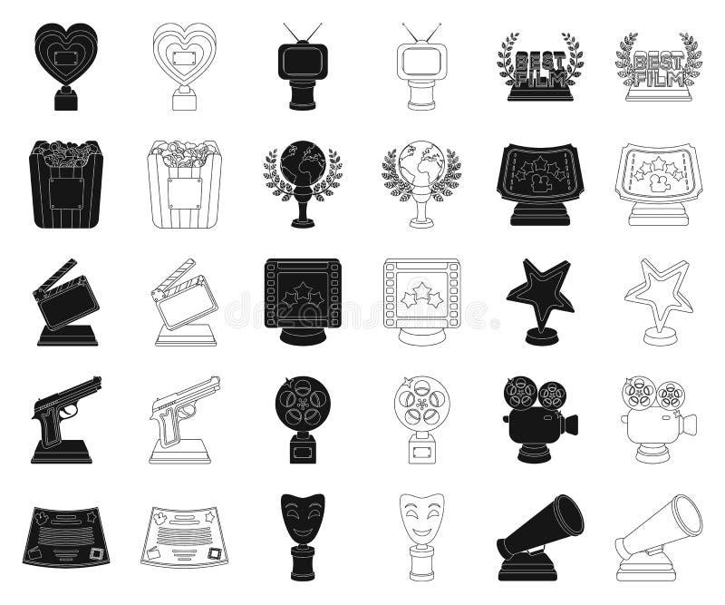 Van filmtoekenning en prijzen zwarte, overzichtspictogrammen in vastgestelde inzameling voor ontwerp Het van het de Academie vect vector illustratie