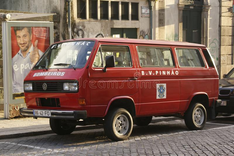 Van fireman in Lisbon, Portugal stock images
