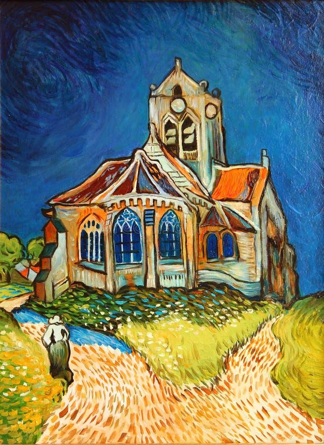 Van Gogh church Painting. Copy of famous Van Gogh church painting royalty free stock photos