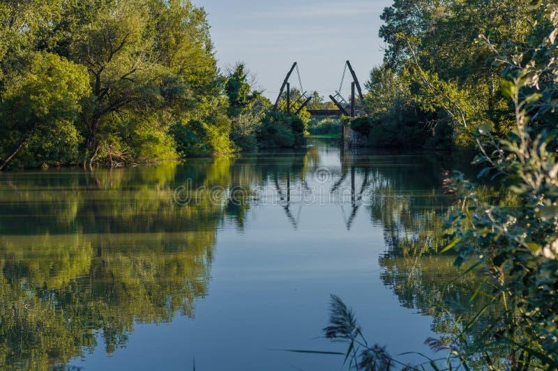 Van Gogh drawbridge. Through canal near Arles, France stock photo