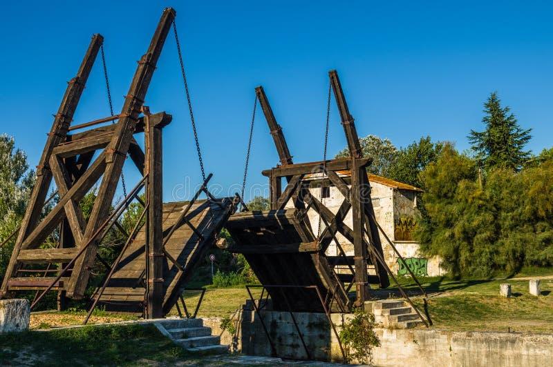 Van Gogh drawbridge. Through canal near Arles, France stock images