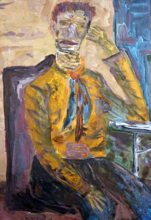 Van Gogh pensa sobre a orelha ilustração do vetor