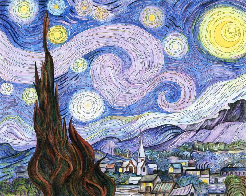 Van Gogh-` s die sternenklare Nachterwachsene Farbtonseite stock abbildung