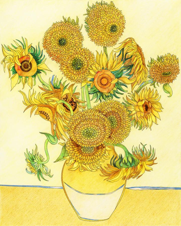 Free Van Gogh`s Sunflower Adult Coloring Page Stock Photos - 113843883