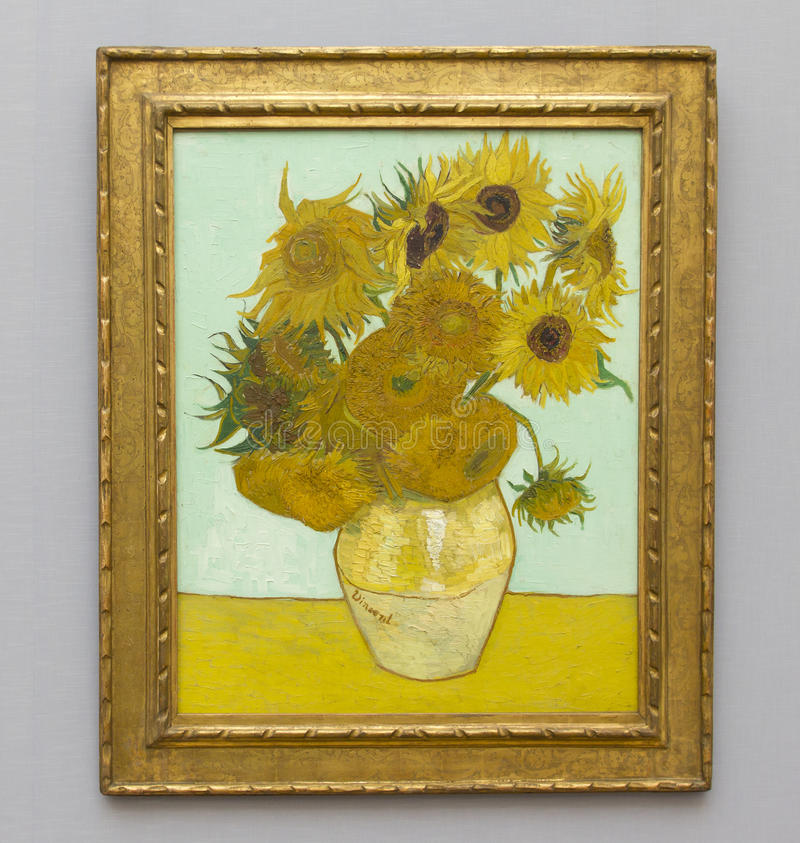 VAN GOGH - SUNFLOWERS. Sunflowers painted by Vincent van Gogh in Neue Pinakothek, Munich, Germany