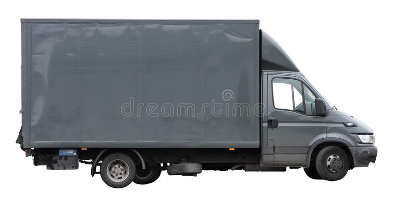 Van grey to transport or move isolated on white background. Grey van to transport or move isolated on white background. PNG available stock photos