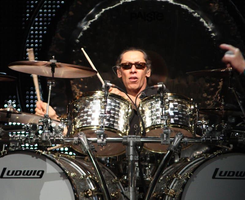 Van Halen performs in concert. Alex Van Halen with Van Halen performs in concert at the BankAtlantic Center in Sunrise, Florida on April 10, 2012 stock images