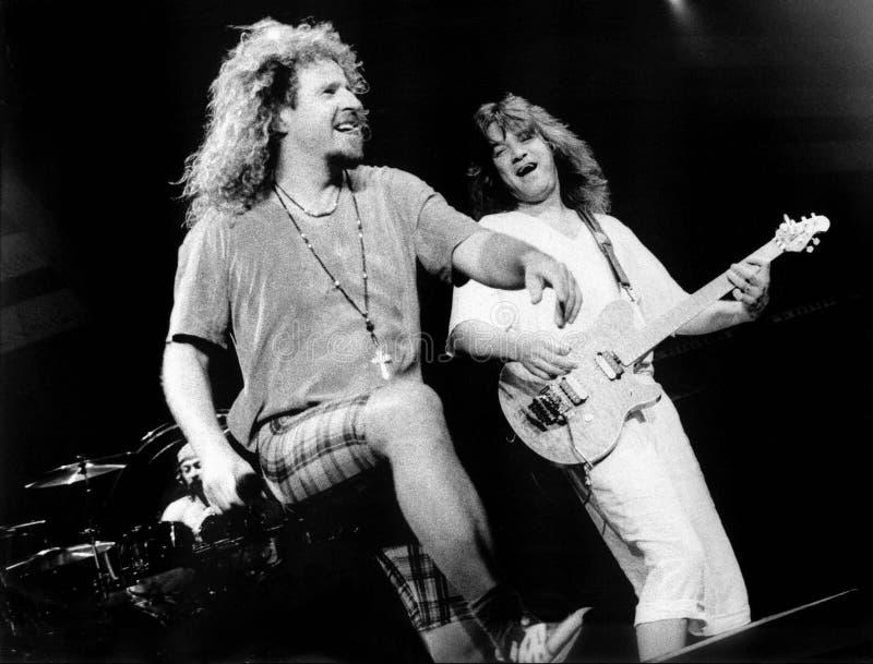 Van Halen Sammy Hagar, Eddie och Alex Van Halen Live på centrumen, Worcester, MOR 1995 av Eric L Johnson Photography royaltyfria foton