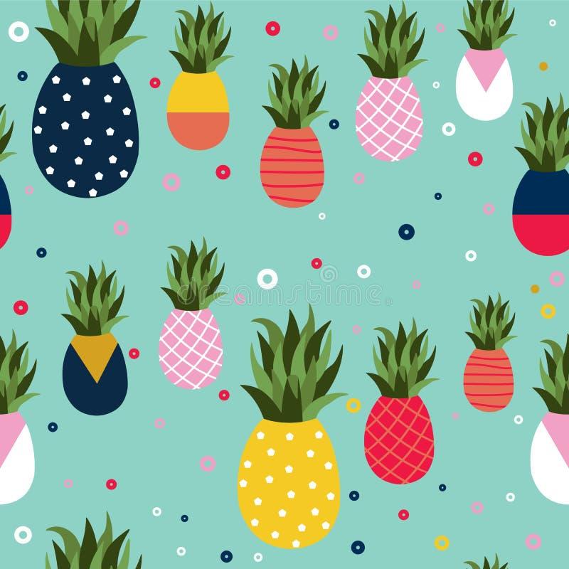 Van het achtergrond ananasfruit retro patroonart. royalty-vrije illustratie