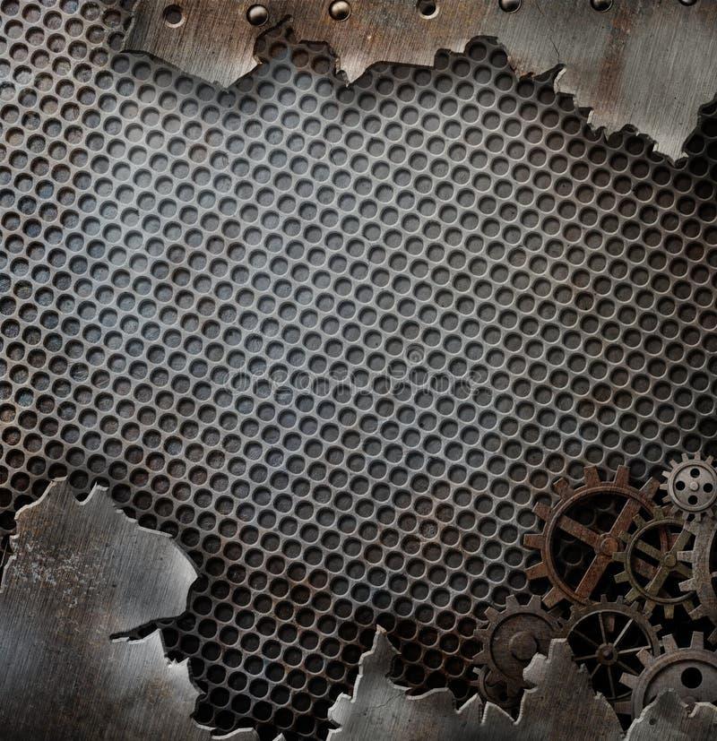 Van het Achtergrond grungemetaal malplaatje met toestellen en vector illustratie