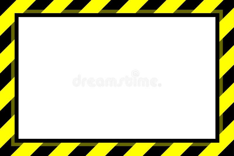 Van het het achtergrond kadermalplaatje van de waarschuwingsbord gele zwarte streep exemplaarruimte, bannerkader het gestreepte g stock illustratie