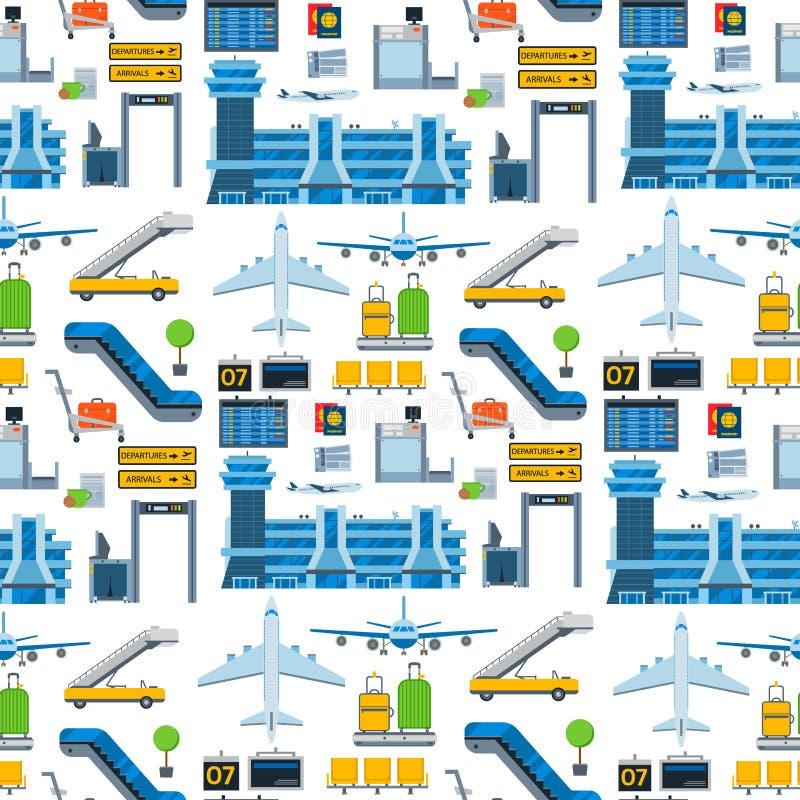 Van het van het achtergrond luchtvaart het naadloze patroon van het de luchthavenvervoer vectorluchtvaartlijn grafische vliegtuig vector illustratie