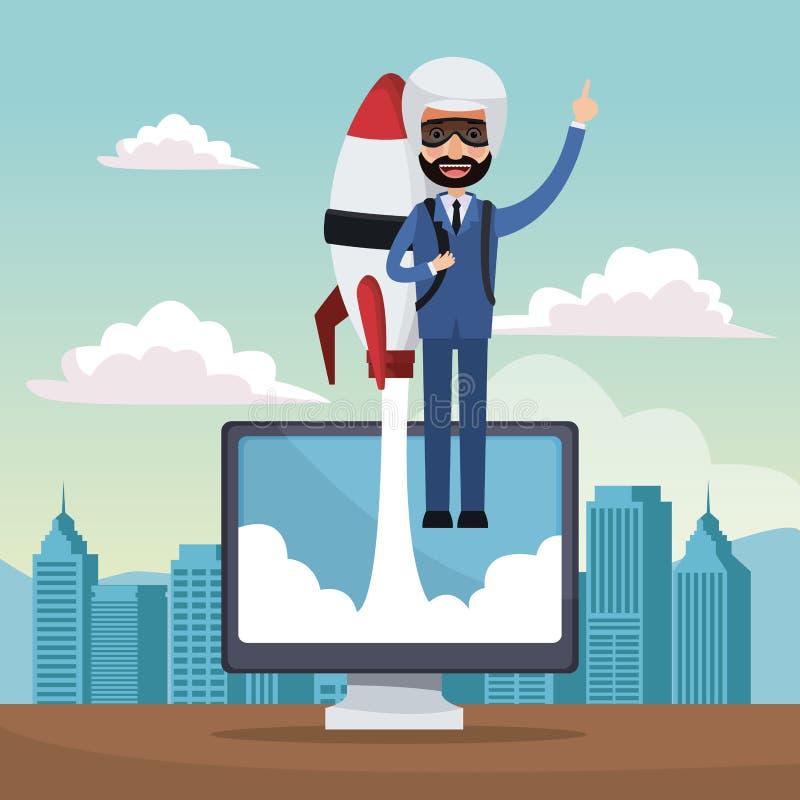 Van het achtergrond stadslandschap ster op de bedrijfsmens die in raket op vertoningscomputer vliegen royalty-vrije illustratie
