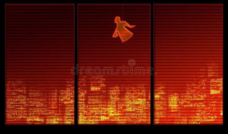 Van het achtergrond venster reeks. Een engel vector illustratie