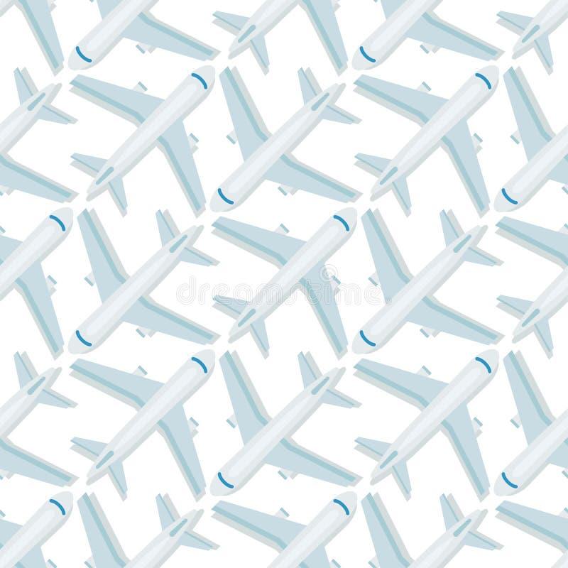 Van het van het achtergrond vliegtuig het naadloze patroon ontwerp van de de reismanier vliegtuigenvervoer royalty-vrije illustratie