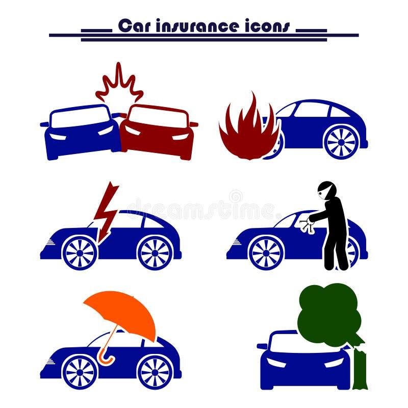 Van het autoverzekering en risico pictogrammen royalty-vrije illustratie