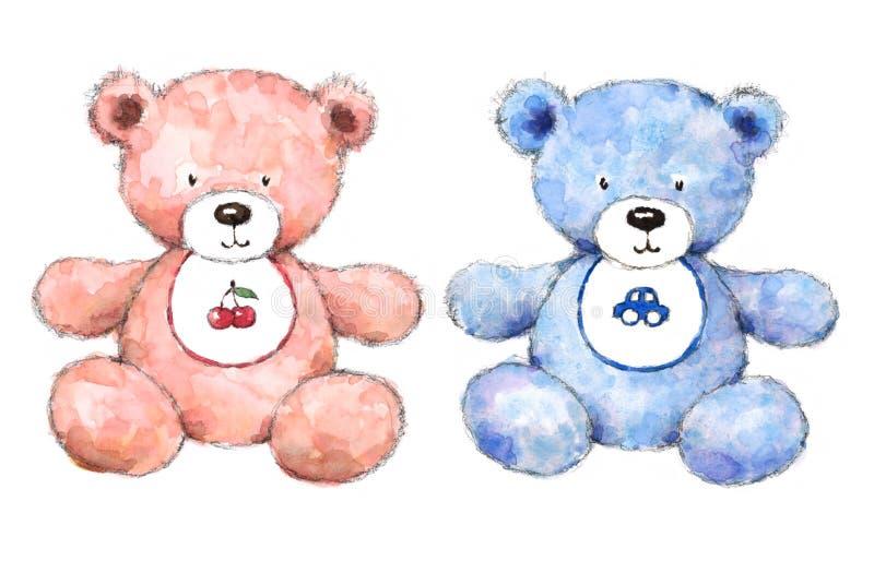 Van het babyjongen en Meisje Geschilderd die de Hand van Teddy Bear Nursery Illustration Set op witte achtergrond wordt geïsoleer royalty-vrije illustratie