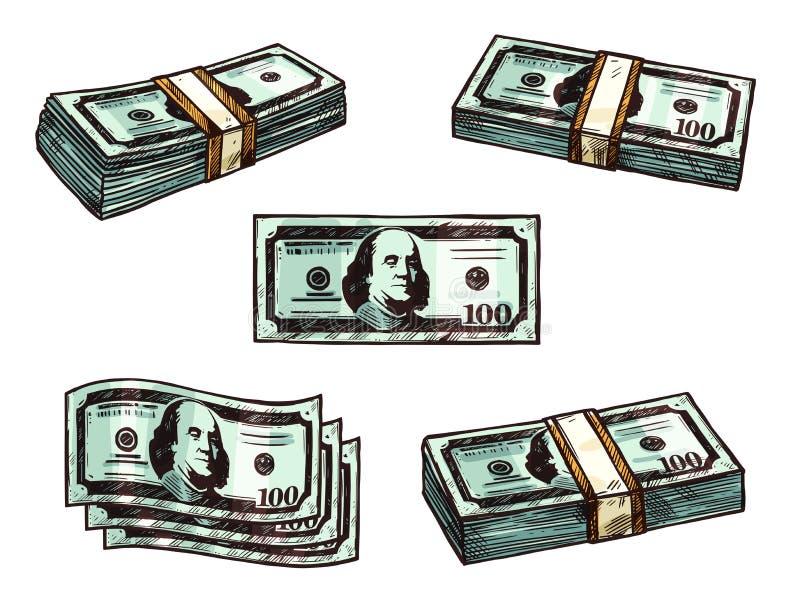 Van het bankbiljetbundels van het dollarsgeld vector de schetspictogrammen stock illustratie