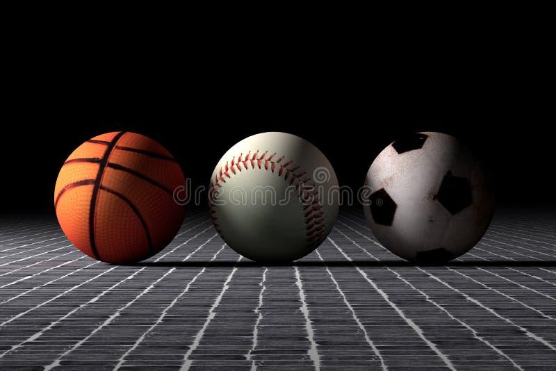 Van het basketbalhonkbal en voetbal ballen stock illustratie