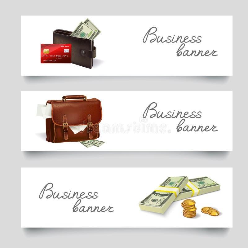 Van het bedrijfs aktentasgeld banners royalty-vrije illustratie