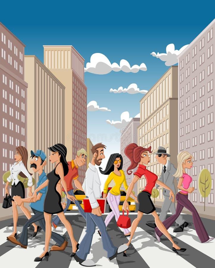 Van het bedrijfs beeldverhaal mensen die een straat kruisen van de binnenstad royalty-vrije illustratie