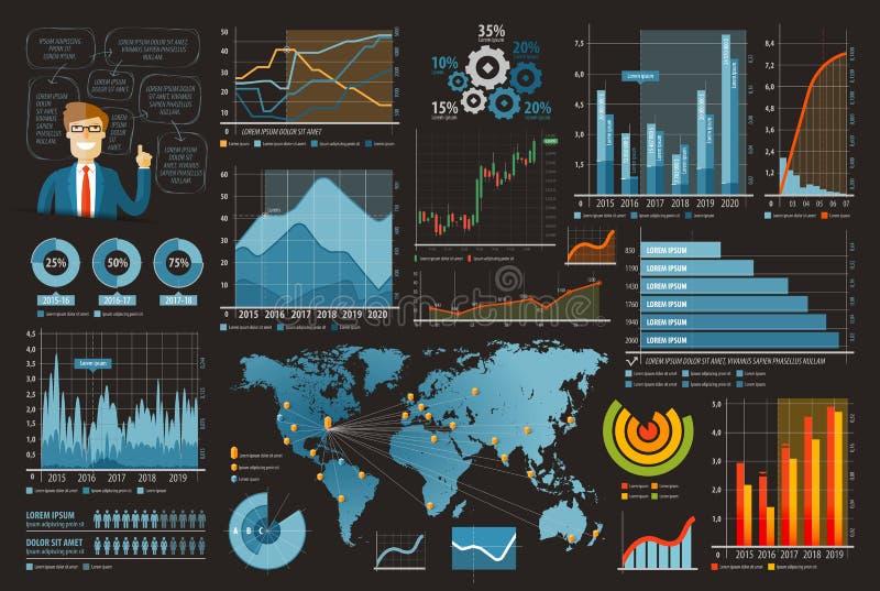 Van het bedrijfs en financiën de infographic vectorillustratie malplaatjeontwerp reeks grafieken, grafieken, diagrammen vector illustratie