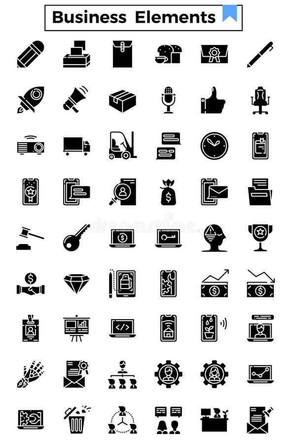 Van het bedrijfs en financiën het pictogram elementen glyph ontwerp royalty-vrije illustratie