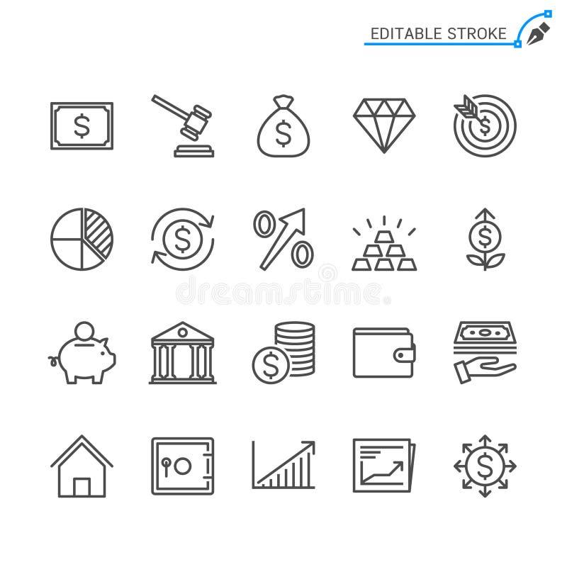 Van het bedrijfs en investerings de reeks overzichtspictogram royalty-vrije illustratie