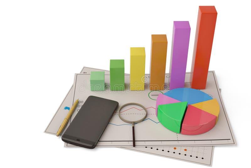 Van het bedrijfs bedrijfs financieel analyticsconcept grafiekcirkeldiagram aan stock illustratie