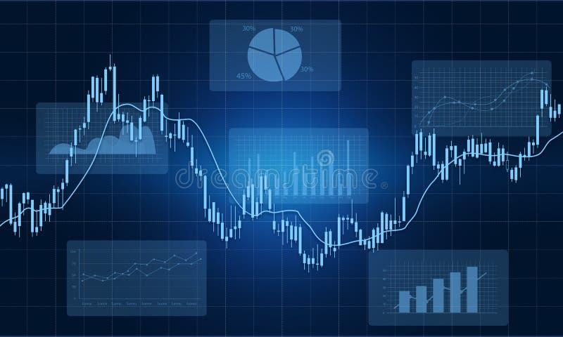Van het bedrijfs financieel grafiekrapport concept als achtergrond vector illustratie