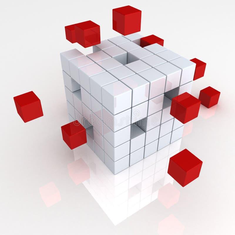 Van het bedrijfs groepswerk abstract concept met rode kubussen royalty-vrije illustratie
