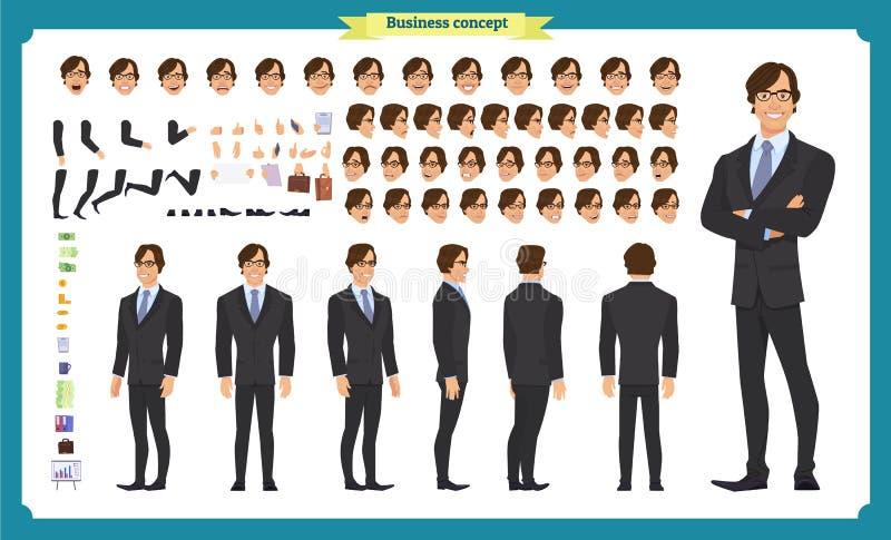 Van het bedrijfs mensenkarakter reeks Voor, zij, achtermening geanimeerd karakter De verwezenlijking van het zakenmankarakter stock illustratie