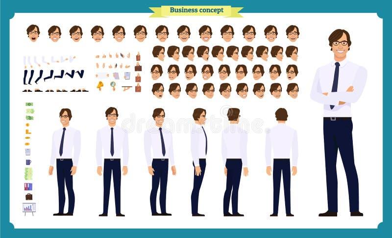 Van het bedrijfs mensenkarakter reeks Voor, zij, achtermening geanimeerd karakter De verwezenlijking van het zakenmankarakter met vector illustratie