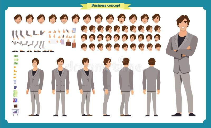Van het bedrijfs mensenkarakter reeks Voor, zij, achtermening geanimeerd karakter De verwezenlijkingsreeks van het zakenmankarakt vector illustratie