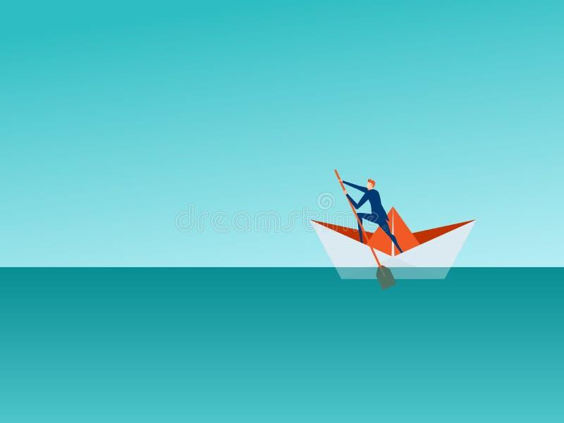 Van het bedrijfs oplossingsbeheer concept Zakenman die een document boot op het overzees roeien die succes, kansen zoeken royalty-vrije illustratie