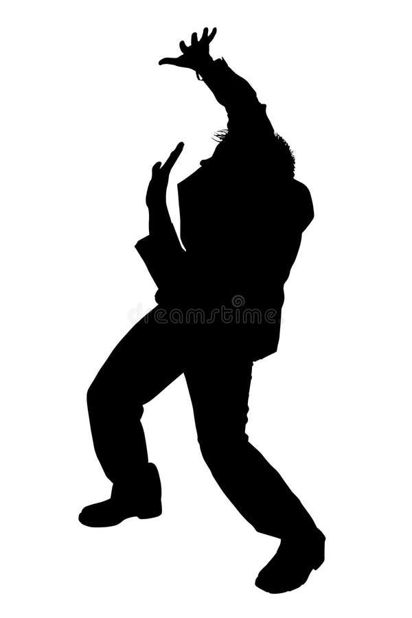 Van het bedrijfs silhouet Ineenkrimpende Mens met het Knippen van Weg stock illustratie