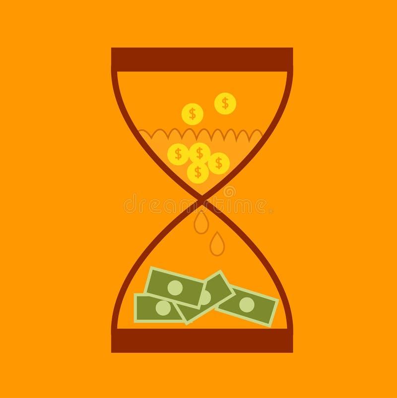 Van het bedrijfs zandloperconcept financiëngeld stock illustratie