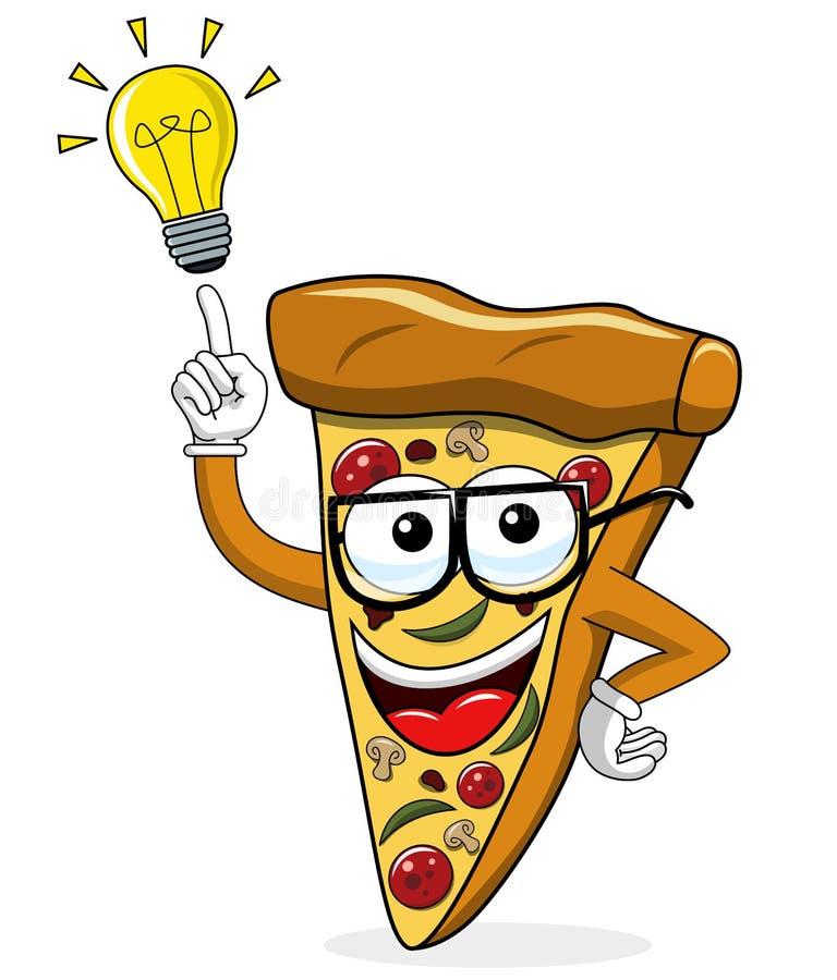 Van het het beeldverhaal grappige idee van de pizzaplak geïsoleerde de innovatieoplossing vector illustratie