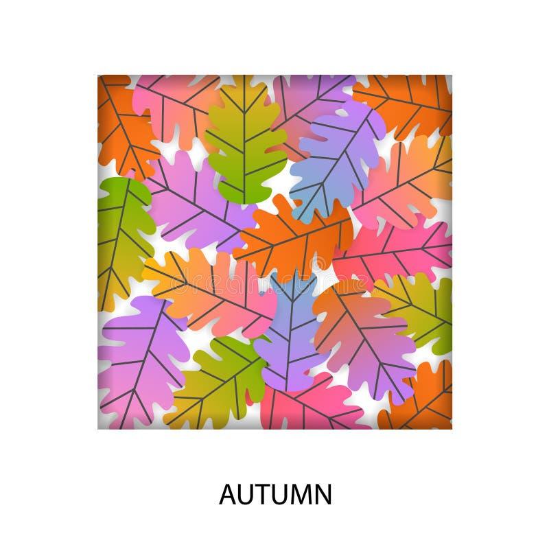 Van het beeldverhaal vlak eiken bladeren van de de herfstdaling het gradiënt gekleurde vierkante kader stock illustratie