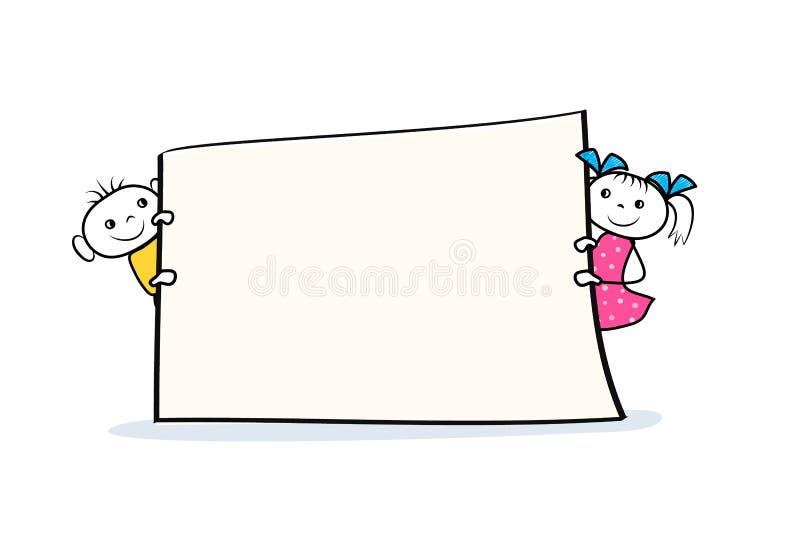 Van het beeldverhaaljongen en meisje karakters die aanplakbiljet in handen houden Het ontwerp van het bannerteken in krabbelstijl stock illustratie