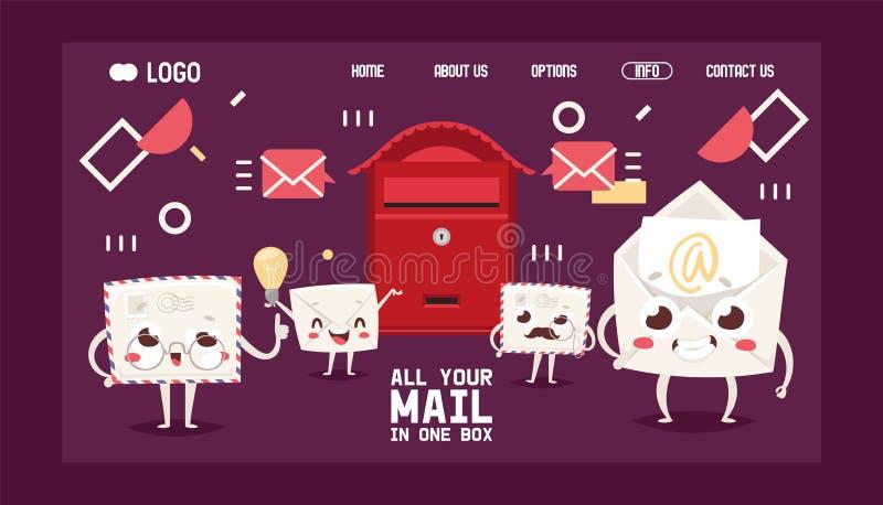 Van het beeldverhaalkarakters van de brievenbusbrief de brievenbus van het de envelop vectorlandingspagina post post het vakje va vector illustratie