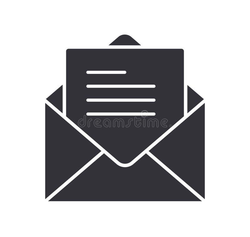 Van het het berichtpictogram van de postbrief het symbool vlakke vectorillustratie stock illustratie