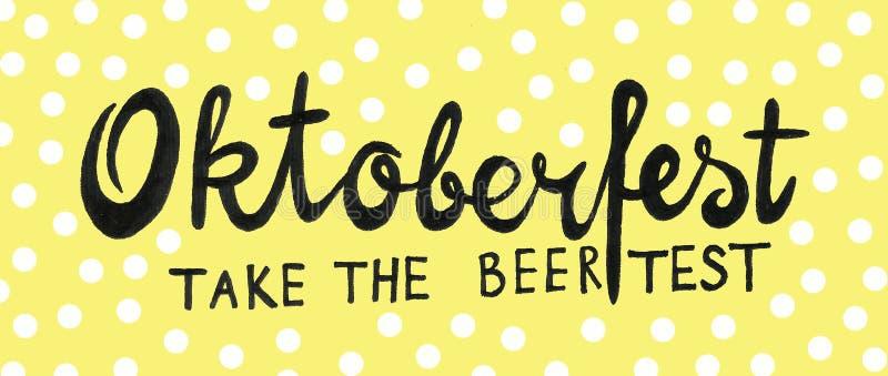 Van het het Bierfestival van München de met de hand geschreven tekst van Oktoberfest met de illustratie van de lijnkunst Affiche, royalty-vrije illustratie