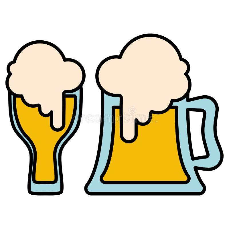 Van het bierkruik en glas containers vector illustratie