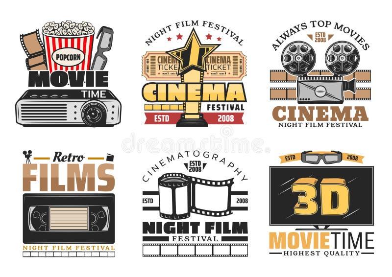 Van het bioskoopfilm en festival vector retro pictogrammen stock illustratie