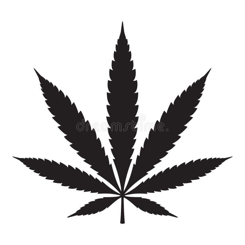 Van het het bladonkruid van de marihuana de vectorcannabis van het het pictogramembleem grafische illustratie van het het symbool royalty-vrije illustratie